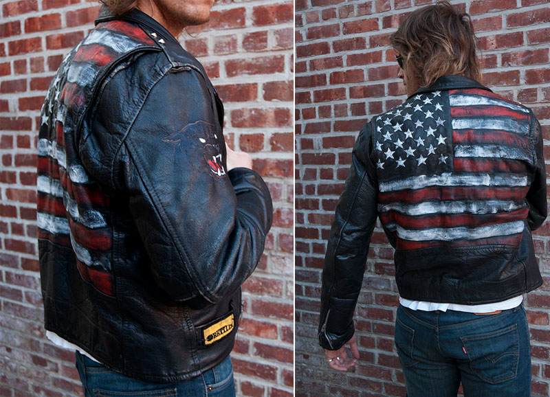 burnmethod, biker, rock, motorcycle jacket, american flag, flag, usa, red white blue, stars, stripes, black, leather, burn method