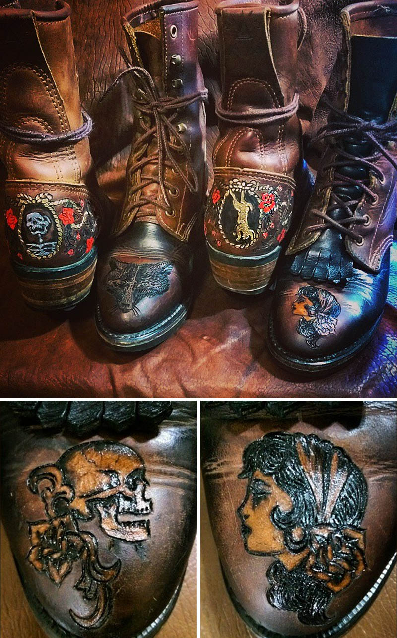 burnmethod, custom, art, tattoo, leather, durango, boots