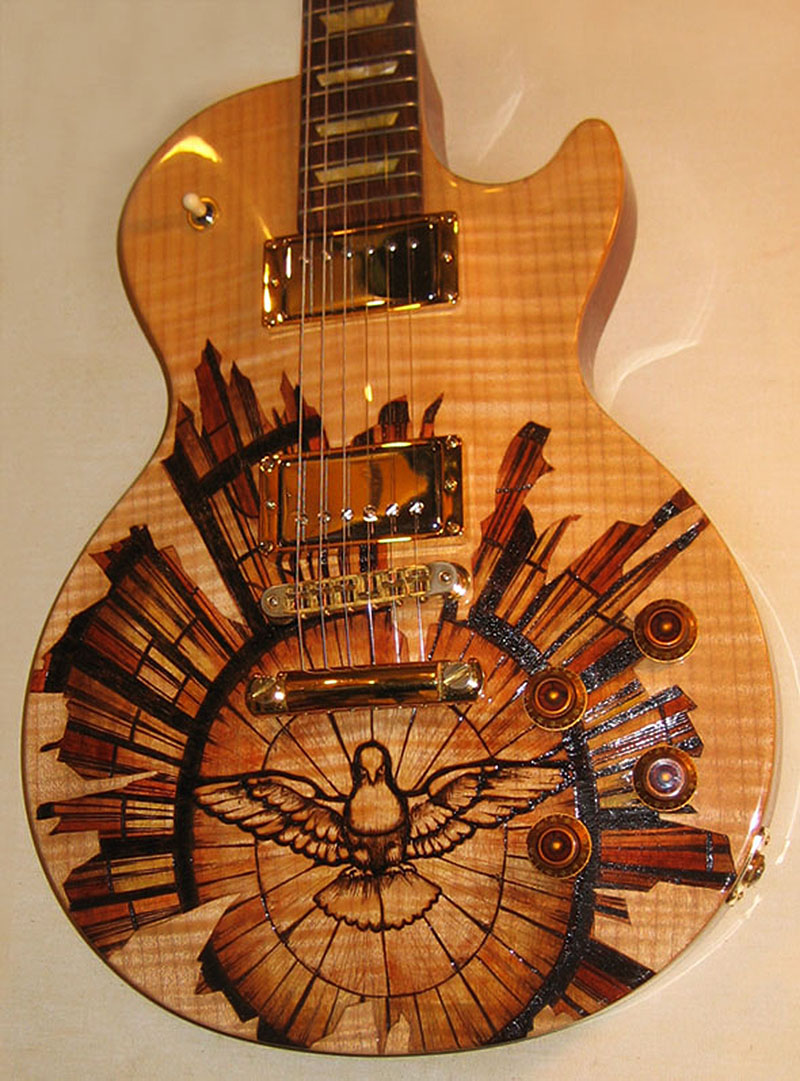 burnmethod, guitar, guitars, pyrography, custom, wood burning, engraved, refinish, gibson, les paul, bernini, art, dove, holy, spirit, stained glass, checked