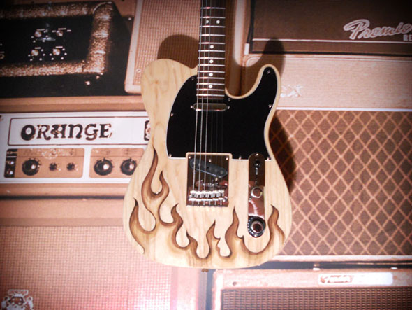 burnmethod, guitar, guitars, pyrography, custom, wood burning, engraved, refinish, tele, telecaster, flame, fire, hotrod