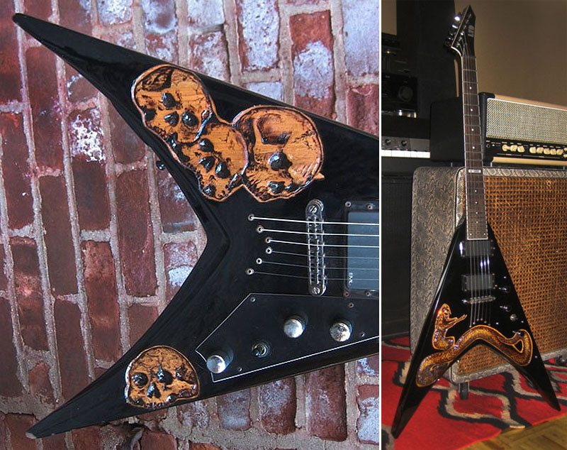 burnmethod, guitar, guitars, pyrography, custom, wood burning, engraved, refinish, flying v, skull, skulls, carved, casualties, jake, jake casualty, art