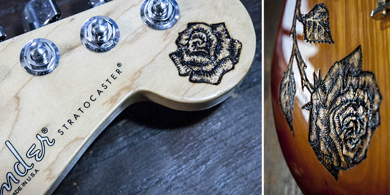 burnmethod, guitar, guitars, pyrography, custom, wood burning, engraved, rose, strat, fender, stratocaster, headstock