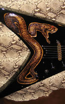 burnmethod, guitar, guitars, pyrography, custom, wood burning, engraved, refinish, flying v, snake, python, snakeskin, carved, swarovski crystal, art