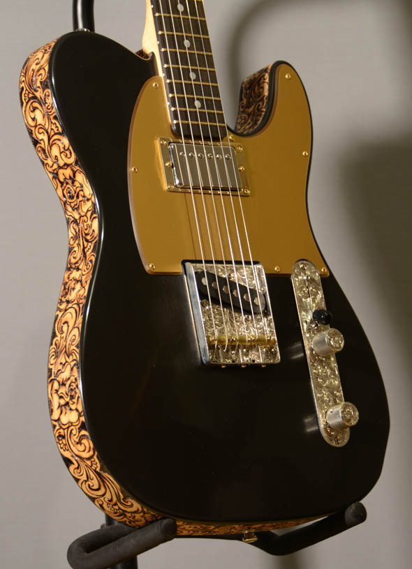 burnmethod, guitar, guitars, pyrography, custom, wood burning, engraved, refinish, tele, telecaster, black jack, paisley, scrollwrok, binding