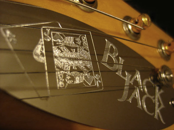 burnmethod, black jack, engraved, plate, headstock
