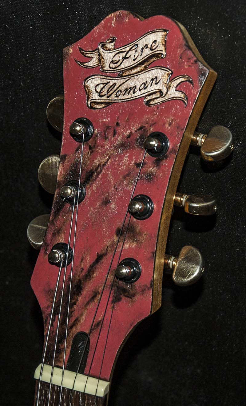 burnmethod, guitar, guitars, pyrography, custom, wood burning, engraved, refinish, hollow body, hollowbody, pin up, pinup, girl, victorian, nude, rose