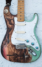 burnmethod, guitar, guitars, pyrography, custom, wood burning, engraved, refinish, strat, texas, desert, arizona, cactus, wolf, mountain