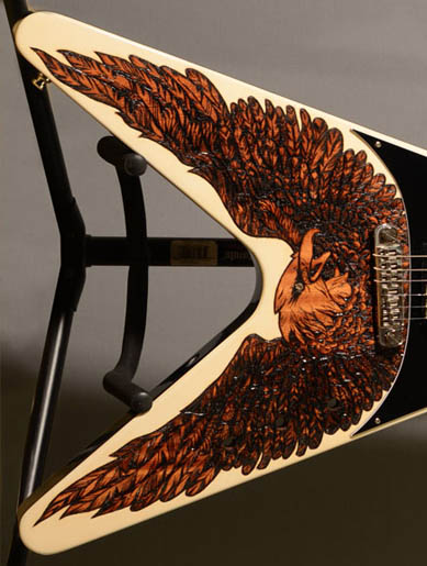 burnmethod, guitar, guitars, pyrography, custom, wood burning, engraved, refinish, flying v, eagle, black white