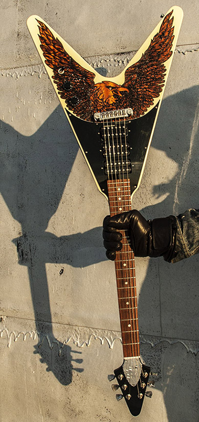 burnmethod, guitar, guitars, pyrography, custom, wood burning, engraved, refinish, flying v, eagle, black white, gibson