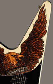 burnmethod, guitar, guitars, pyrography, custom, wood burning, engraved, refinish, flying v, gibson, eagle, warbird, nature