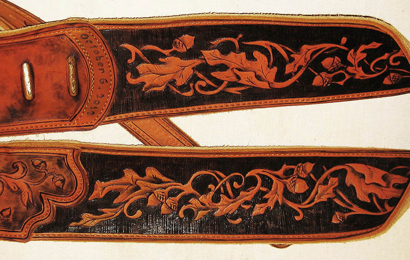 burnmethod, guitar, strap, pyrography, custom, wood burning, engraved, personalized, leather, outlaw, county, paisley, scrollwork, acorn, oak leaf, baroque