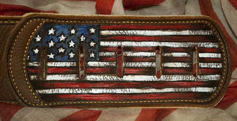 burnmethod, guitar, strap, pyrography, custom, wood burning, engraved, personalized, leather, american flag, americana, peace sign, red, white, blue