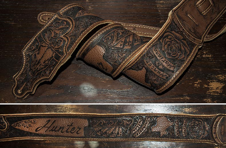 burnmethod, guitar, strap, pyrography, custom, wood burning, engraved, personalized, leather, outlaw, county, ace of spades, pistol, scrollwork, cow skull, skull, script, paisley, whiskey, texas, poker, cards, rose