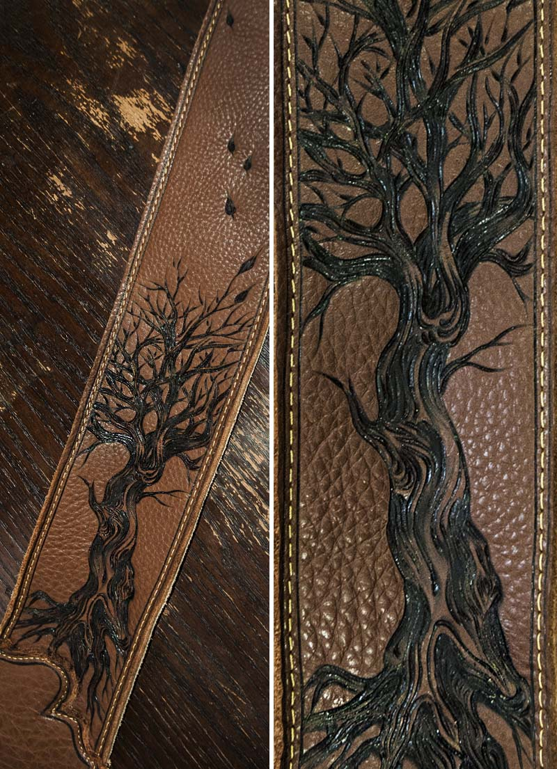 burnmethod, guitar strap, brown, leather, dead tree, tree, leaves, nature