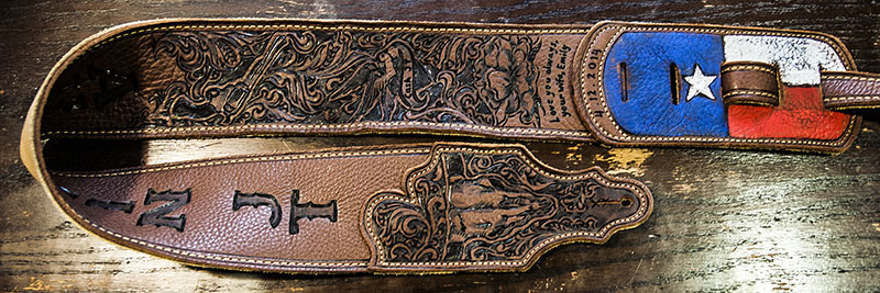 burnmethod, guitar, strap, pyrography, custom, wood burning, engraved, personalized, leather, outlaw, county, ace of spades, pistol, scrollwork, cow skull, skull,  initials, texas, sparrow, flag
