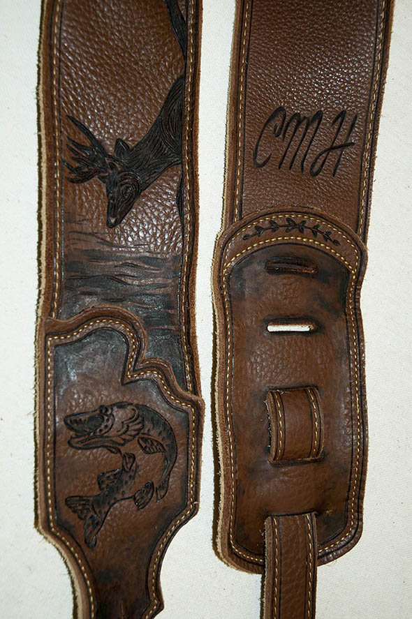 burnmethod, guitar, strap, pyrography, custom, wood burning, engraved, personalized, leather, hunting, camo, deer skull, skull, hoof print, vintage, brown, fishing, tree