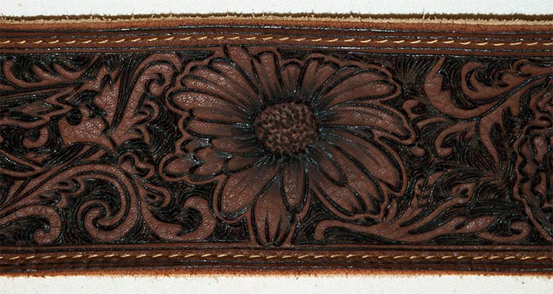 burnmethod, guitar, strap, pyrography, custom, wood burning, engraved, personalized, leather, vintage, brown, flowers, garden, intricate, ornate, scrollwork, daisy