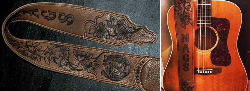 guitar strap, leather, custom, engraved, dogwood, flower, horse, shoe