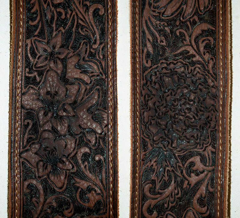 burnmethod, guitar, strap, pyrography, custom, wood burning, engraved, personalized, leather, vintage, brown, flowers, garden, intricate, ornate, scrollwork, gladiolus