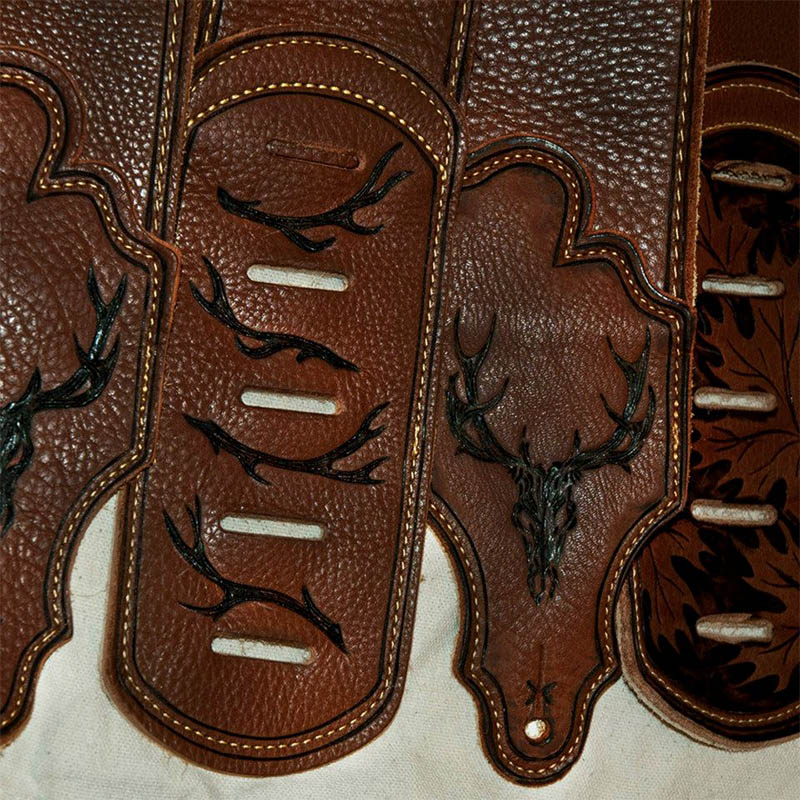 burnmethod, guitar, strap, pyrography, custom, wood burning, engraved, personalized, leather, hunting, camo, deer skull, skull, hoof print, vintage, brown