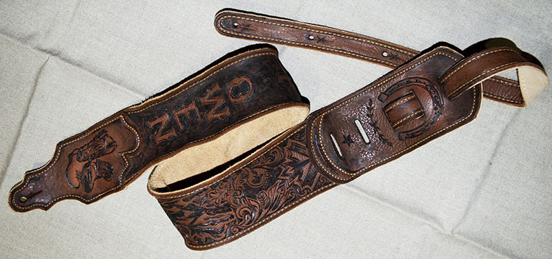 burnmethod, guitar, strap, pyrography, custom, wood burning, engraved, personalized, leather, outlaw, county, cowboy boots, labatt, blue, horseshoe, scrollwork, guitar strap