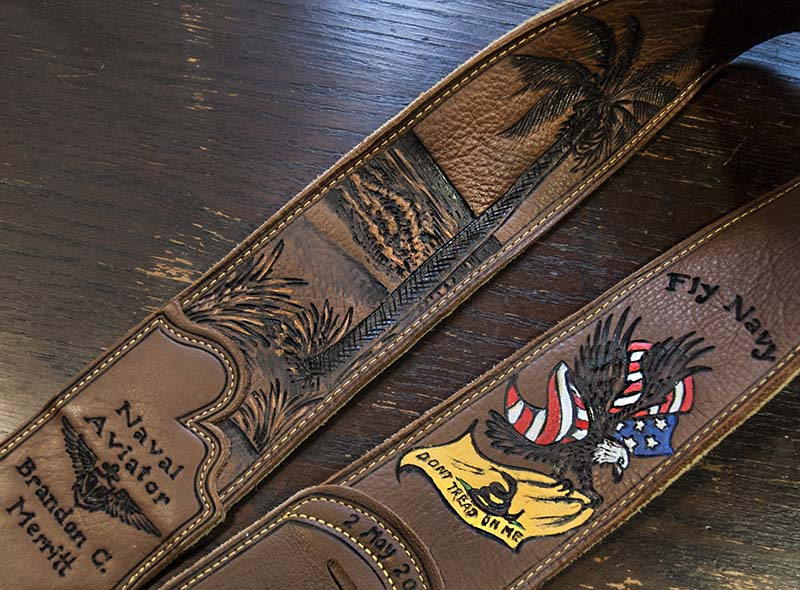 burnmethod, leather, guitar strap, navy, naval aviator, beach, palm tree, don't tread on my, flag, american, eagle, military