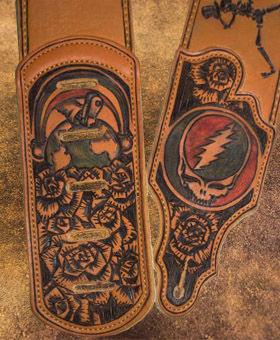 burnmethod, guitar, strap, pyrography, custom, wood burning, engraved, personalized, leather, gift, grateful dead, fan art