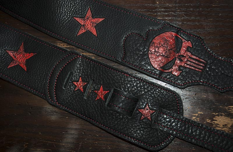 burnmethod, leather, black, red, guitar strap, skull, star, stars