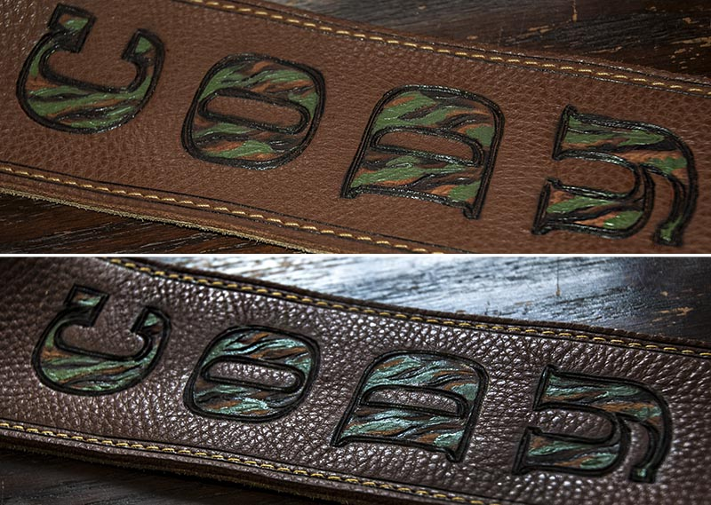 burnmethod, guitar, strap, pyrography, custom, wood burning, engraved, personalized, leather, hunting, camo, deer skull, skull, hoof print, vintage, brown, camo, texture