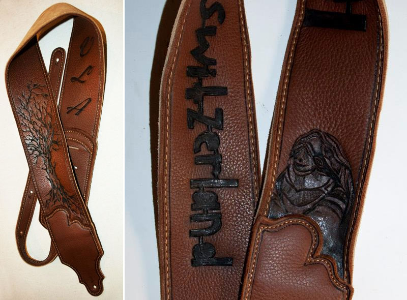 burnmethod, guitar, strap, pyrography, custom, wood burning, engraved, personalized, leather, logo, wwii, bomber, initials