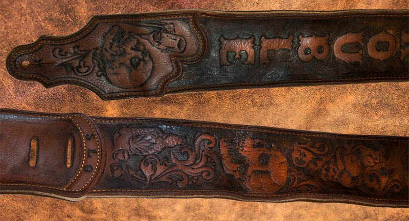 burnmethod, guitar, strap, pyrography, custom, wood burning, engraved, personalized, leather, outlaw, county, skulls, drinking, booze, cowboy hat, scrollwork