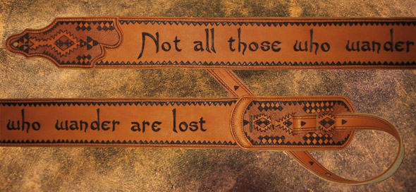 burnmethod, guitar, strap, pyrography, custom, wood burning, engraved, personalized, leather, inscription, quote, geometric, pattern, aztec, navajo