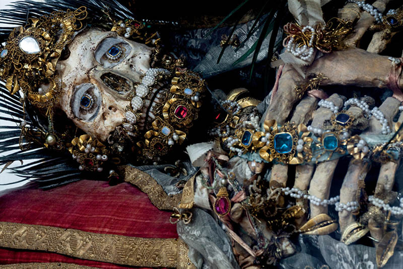 jeweled skeleton from catholic catacombs