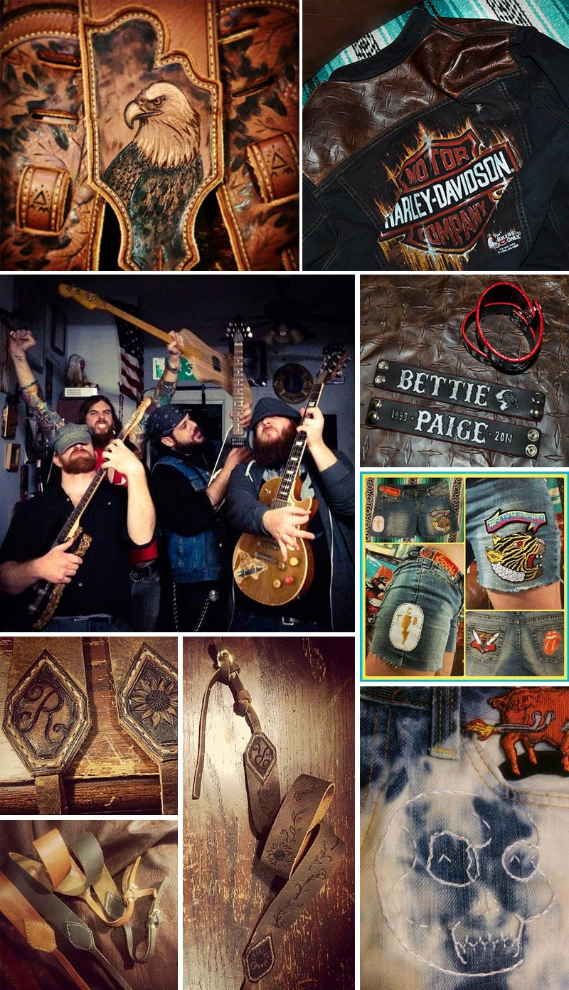 burnmethod, custom, denim, leather, biker, guitars, camera, straps, engraving