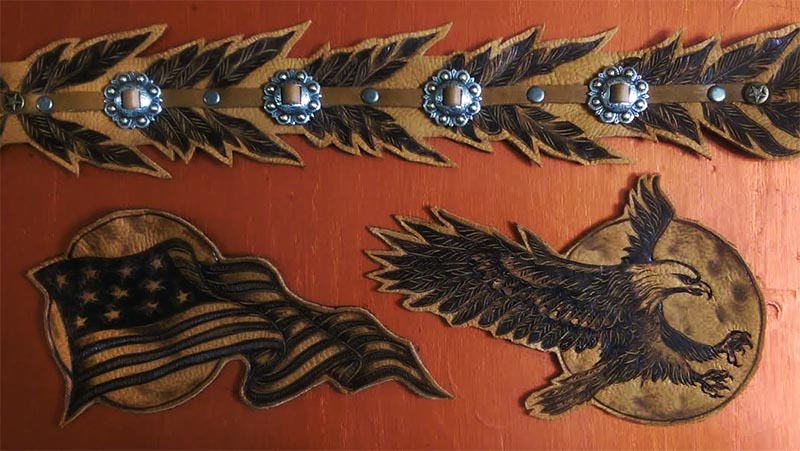 burnmethod, eagle, flag, american, concho, leather, art